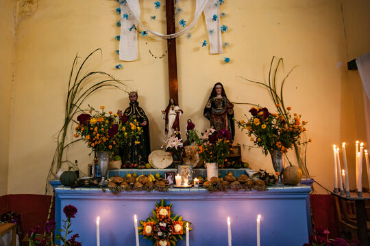 Traditional Mexican Family Shrine with Icons