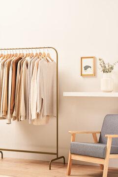 Rail with garments near shelf and armchair