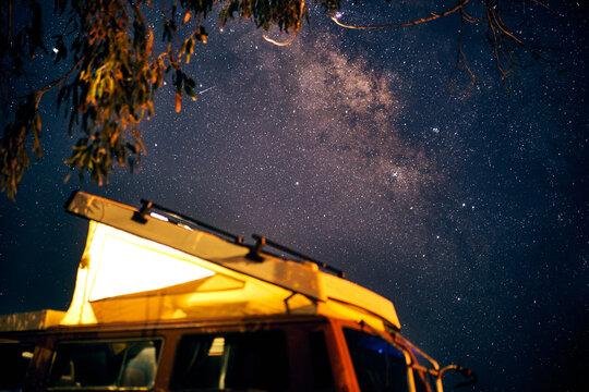 camper van under the stars.