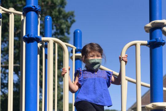 Child playing on school playground