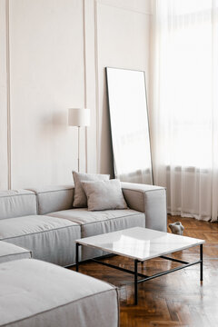 Interior of light living room with cozy couch