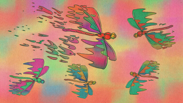 Dragonfly flying on colorful background Illustration