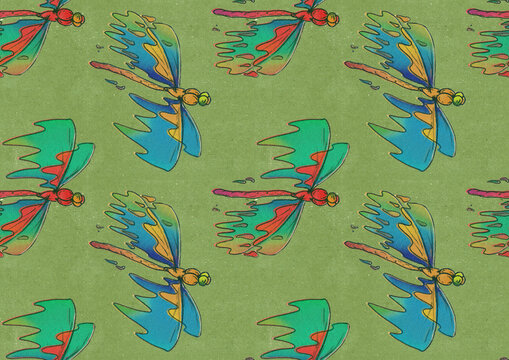 Dragonfly Flying Pattern On Olive Green Background