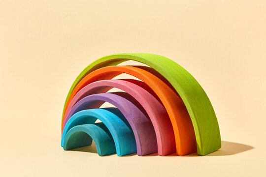 Colorful creative labyrinth from wooden hemispheres.