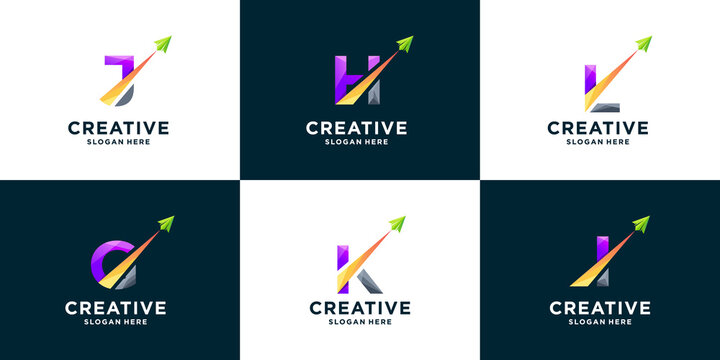 Set of gradient letter and arrow logo design template