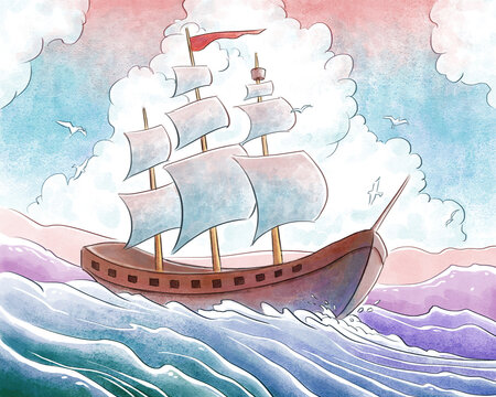 Sailing Ship Watercolor Illustration