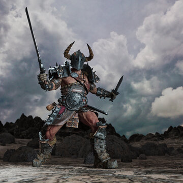 Fantasy warrior with horned helmet and swords drawn ready to fight
