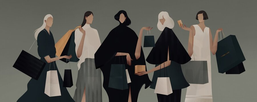 illustration of fashion girls with shopping bags