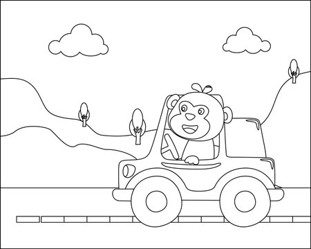 Vector cartoon of funny monkey driving car in the road with village landscape. Cartoon isolated vector illustration, Creative vector Childish design for kids activity colouring book or page.