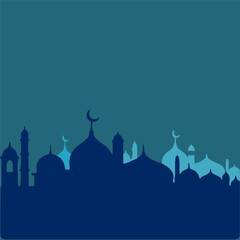 the blue silhouette of the mosque and the dome of the mosque