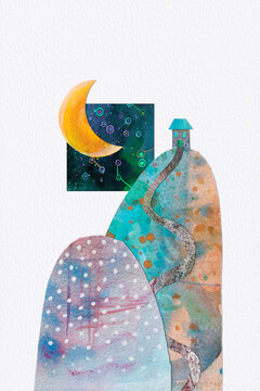 Home by the Moon and Stars, a watercolour collage