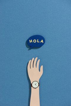 Text Hello, in spain hola. Bubble talk phrases.