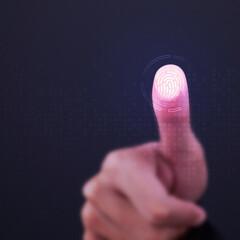 Fototapeta Fingerprint scanner on transparent screen obraz