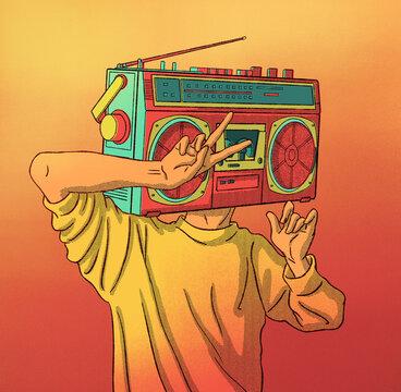 Radio Man Retro Illustration