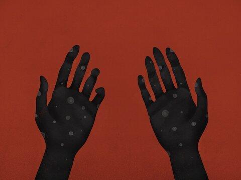 Hands with coronavirus bacteria. Virus protection, washing hands concept. Protective measures. Coronavirus epidemic concept illustration