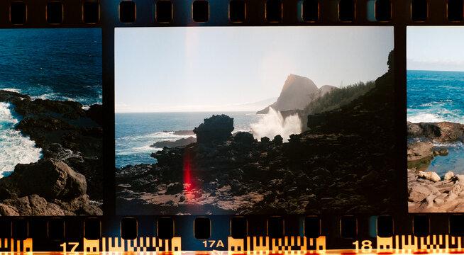 Ocean wave crashing on shore in Maui