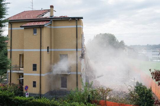House demolition for building new skyscraper