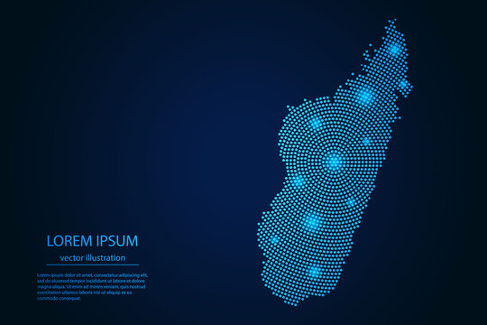 Abstract image Madagascar map from point blue and glowing stars on a dark background. vector illustration.