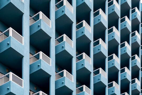 Blue facade full of balconies