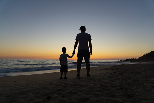 Silhouettes of father holding his son's hand watching the sunset on the beach