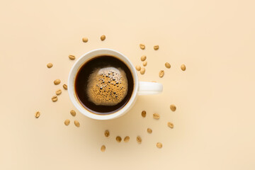 Cup of hot coffee on color background