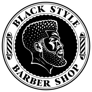 Logo for some black barber shop. Head of black man with an Afro taper fade haircut. Barber's pole and curved vintage font in the round frame.