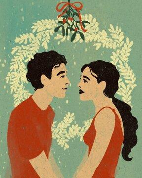 Couple in love under mistletoe