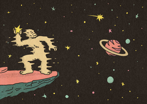 Ancestor Ape Throwing Stars In The Universe Illustration