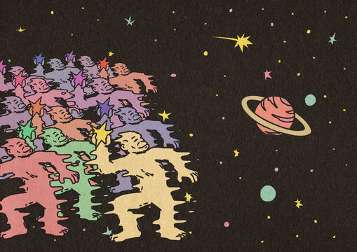 Crowd Of Colorful Monkeys Throwing Stars In The Universe