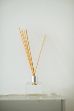 Reed oil diffuser indoors