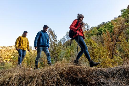 Three friends Walking through the mountain in autumn
