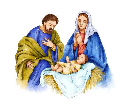 Christmas Nativity Scene. Watercolor botanical hand drawn illustration. Virgin Mary, Joseph and baby Jesus. Religious scene. Holy family