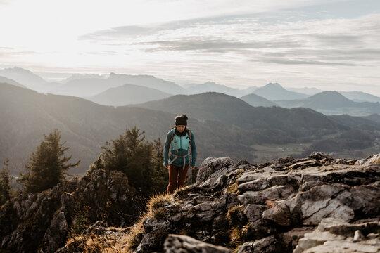 woman hiking in autumn