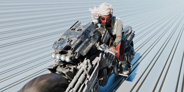 Cyborg woman riding futuristic motorcycle