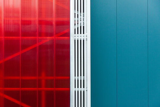 Colorful modern building exterior detail