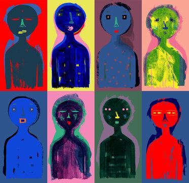 Modern People - Colorful Grunge Texture Illustration