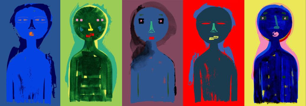 Modern People Colorful Illustration - Five People Banner