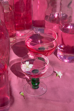 Two Glasses with pink liquor