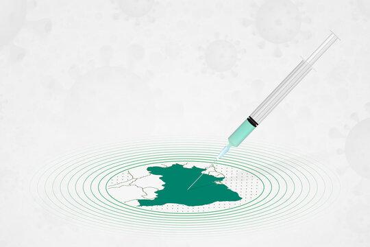 Brazil vaccination concept, vaccine injection in map of Brazil. Vaccine and vaccination against coronavirus, COVID-19.