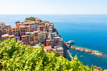 Scenic view of Cinque Terre town in Italy Wall mural