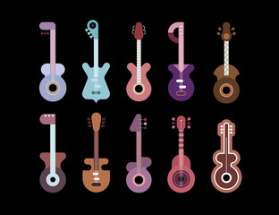 Ten Guitars Isolated On A Black Background