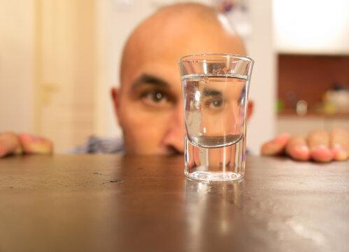 Alcohol addiction of a man