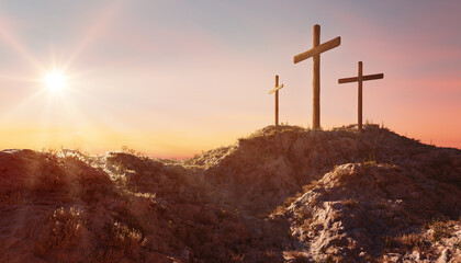 Crucifixion and Resurrection. Three crosses of Golgotha by sunset. Easter or Resurrection concept. He is Risen. Happy Easter.