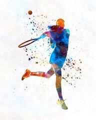 Woman tennis player 03 in watercolor