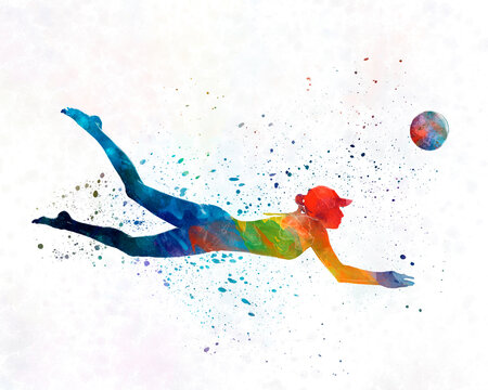Woman beach volley ball player 01 in watercolor
