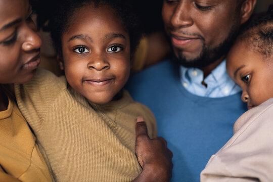 Family Closeup - Focus on the Adorable Little Girl