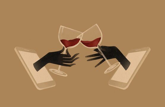 Virtual holiday party. Celebration with wine toast