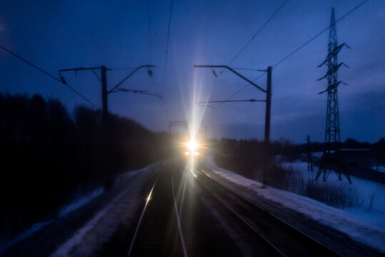 A train is coming - view from the last wagon window in the trans siberian train.