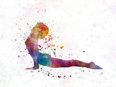 Yoga woman in watercolor splatter