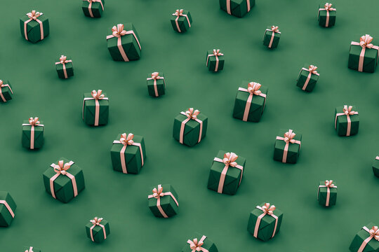 Green and pink christmas gifts on green background